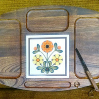 Vintage Cheese Board Tray with Ceramic Flower Trivet and Knife- Made in Japan- Wood Cutting Board with Ceramic Trivet