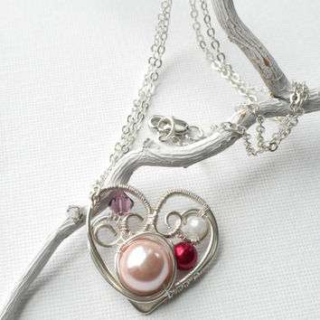 Silver Heart Pearl Pendant, Wire Wrapped Pearl and Swarovski Heart Pendant, Valentine's Gift For Her, Sweetheart Pendant Necklace