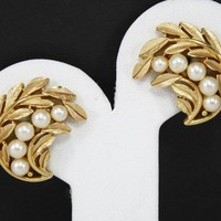 Chatham Crescent Faux Pearl Earrings, Brushed Gold Tone Clip ons, Designer Signed Crown Trifari, Leaves and Pearls, Vintage 1950s Jewelry