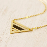 Geometric necklace. Golden Pyramid necklace. Golden with a black bar. Small Egyptian Pyramid pendant. Hand made necklace. Chic necklace.