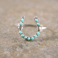 Turquoise Horseshoe Ring in Silver Aluminum Free US Shipping