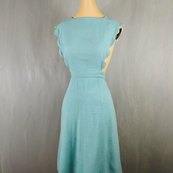1930's Sky Blue Wool Pinafore Apron Overall Dress