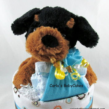 Puppy Diaper Cake | Neutral Diaper Cake |  Baby Shower Decoration | Baby Diaper Cake | Unique Baby Gift | Baby Shower Gift |  Newborn Gift