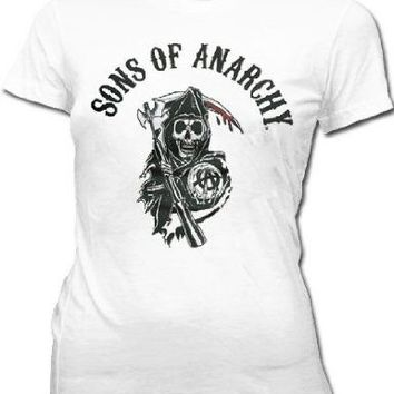 Sons of Anarchy Arched Reaper Juniors Fitted T-Shirt - Sons of Anarchy - | TV Store Online