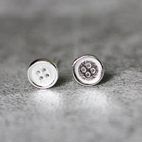 Tiny Button Earrings, Sterling Silver Button Stud Earrings, round earrings, button studs earrings, Button Jewelry, gifts for her