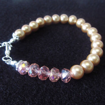 7 / 8 Inch Infinity Charm Bracelet - Champagne / Gold Glass Pearl Beaded Bracelet - Pink Crystal Adjustable Bracelet Jewelry Gifts for Her