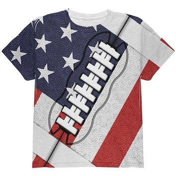 4th of July American Flag Patriot Football All Over Youth T Shirt