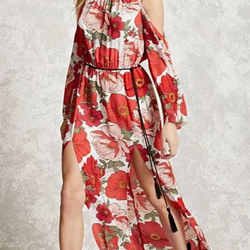 Multicolor Floral Print Long Sleeve Cold Shoulder Side Split Maxi Dress