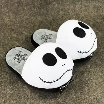 "1Pair 11""28cm Anime The Nightmare Before Christmas Jack Skellington Plush Slippers Shoes Warm Winter Adult Slipper Great Gift"