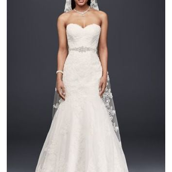 Sweetheart Trumpet Wedding Dress with Beaded Sash - Davids Bridal