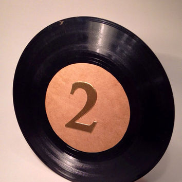 "Table number records 45 rpm vinyl record table numbers 7"" vinyl record table number wedding table number gold vinyl record"