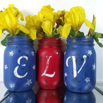 Personalized Initial, Mason Jar Vase Set - Rustic, Style Home Decor -- Red, White and Blue Tabletop Decor