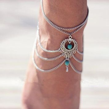 Summer Bohemian Ankle Chain Silver Foot Bracelets Anklets For Women Ethnic Tassel Beads Multilayer Chain On Foot Ankle jewelry