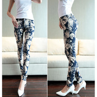2016 Fashion Women Pregnancy Pencil Pants Full-length Printing Flower Pattern Maternity Trousers Clothes For Pregnant HMP030