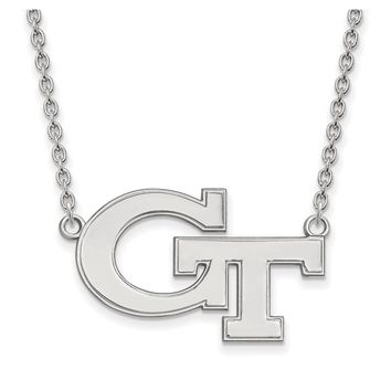 NCAA Sterling Silver Georgia Tech Large Pendant Necklace