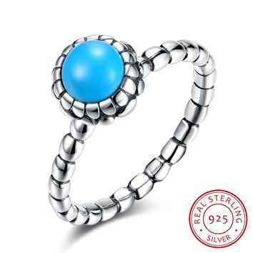 925 Sterling Silver Ring Retro turquoise ring simple fashion sterling silver ring