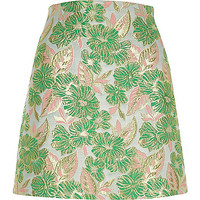 Green and pink floral jacquard mini skirt