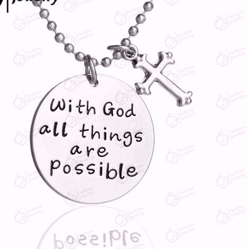 With God All Things are Possible Cross Necklace