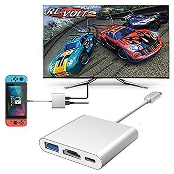 HDMI Type C Adapter for Nintendo Switch, J-DEAL 3-in-1 USB + Type-C + HDMI Converter Cable for Nintendo Switch Portable Mini Multiport Switch Compatible with Samsung S8 MacBook