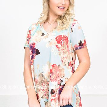 Sea Foam Bright Floral Top