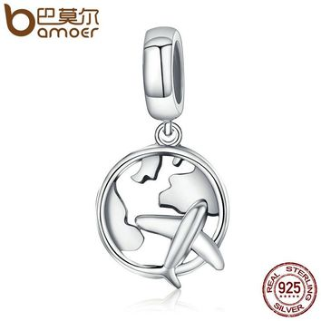 Authentic 925 Sterling Silver Traveling Dream Map & Plane Charm Beads Fit Charm Bracelets Fashion Jewelry S925 SCC242