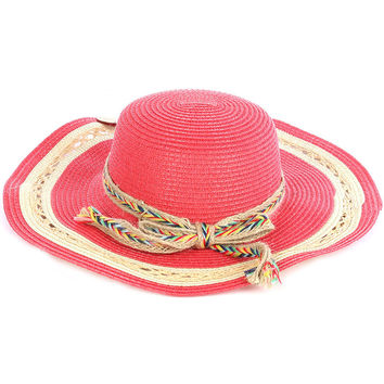 Braided Color Yarn Trim Floppy Straw Hat Red