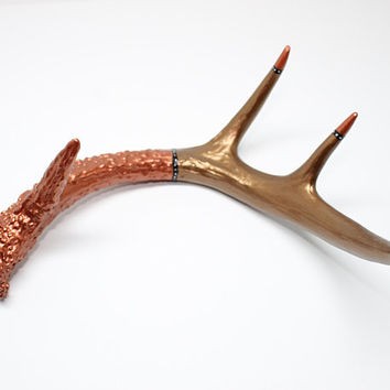 Hand Painted Whitetail Deer Antler in Metallic Bronze Copper Silver Black