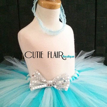 "Girls Tutu Skirt Set - Frozen Tutu set - Tutu skirt and Crown headband -  Birthday tutu - Sewn 10"" Tutu - size 2T - Ready to Ship!"