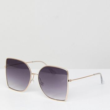 ASOS Metal Oversized Square Sunglasses With Pearl Nose Bridge at asos.com