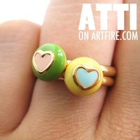 TWO Adjustable Round Contrasting Heart Rings One in Green and Yellow
