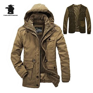 High Quality Brand Casual Cotton Lined Jacket Thickening New Fashion Winter Jacket Men Free Warm  Coat Parkas C16E1358