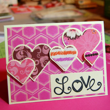 Hearts for Love, Handmade Greeting Card, Anniversary, Valentine's Day, Just Because