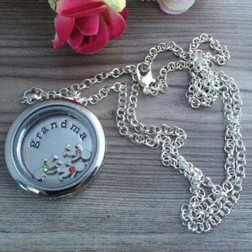 Grandma necklace, Grandmother gifts, Grandma jewelry, Grandmother memory locket pendant necklace