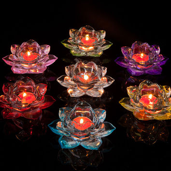 Crystal Glass Lotus Butter Lamp Base Candle Furnace Seven Star Buddha Lamp Bright for Long Time Lotus Butter Lamp Q