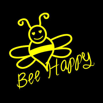 Cute Bee Happy vinyl decal Car Auto Vehicle Window decal Sticker Honey Bee Decal