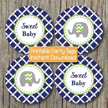 Baby Shower Decorations Prinable Cupcake Toppers Favor Tags diy Party Supplies Navy Blue Lime Green Elephant Sweet Baby INSTANT DOWNLOAD 182