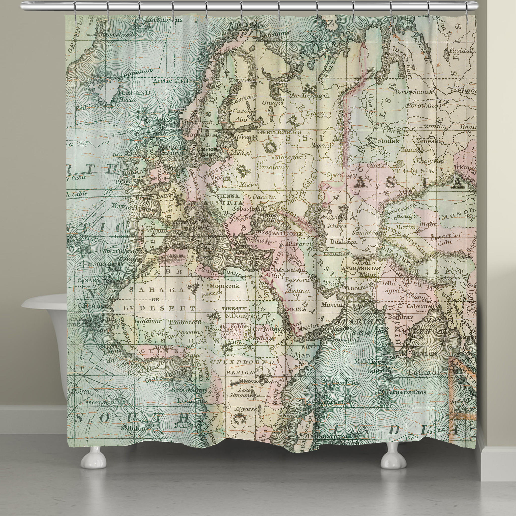 World Map Shower Curtain From Laural Home