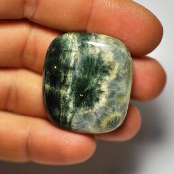 Natural Designer Ocean Jasper Cabochon Gemstone Rectangular shape Green Beige color Pendant size Massive Cab 34x30x8 mm. 78.20 Cts.