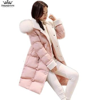 tnlnzhyn 2017 New Winter Women Down Jacket Women Fox Fur Collar Medium long Down Cotton Jacket Thick Hooded Winter Coats Y751