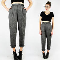 vtg 80s 90s grunge revival preppy black white SALT & PEPPER high waisted waist SKINNY leg fit pleated trouser dress pants 26 S