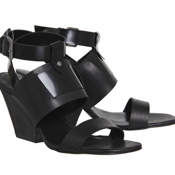 Poste Mistress Nyla Block Heel Sandals Black Leather Wood Heel - Sandals