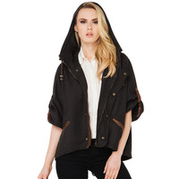 Casual Half Sleeve Zipper And Button Front Hooded Jacket