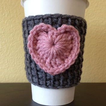 Gray Coffee Cozy with Pink Heart, Tunisian Crochet Coffee Sleeve with Pink  heart, Valentine Cup Cozy, Reusable Eco Friendly
