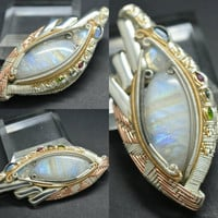 "Titanium Silver Gold fill Wire Wrapped Handmade Pendant ""Avalon"""