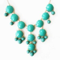 Color Bubble BIB Statement Fashion Necklace - Turquoise | AihaZone Store
