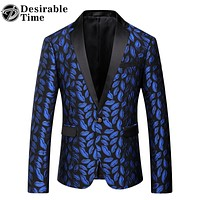 Men Royal Blue Printed Blazer Pattern Slim Fitted Prom Blazers Men One Button Suit Jacket Stage Costumes