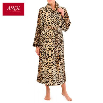 Warm dressing gown from super soft fleece micro velour with double sided pile