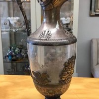 """Antique French Sterling Silver & Glass Ewer, Claret Jug Decanter 14"""""""