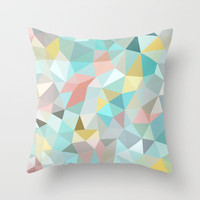 Pastel Tris Throw Pillow by Beth Thompson