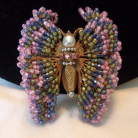 Miriam Haskell Pink Glass Bead Butterfly Brooch Baroque Pearl & Glass Rhinestone Vintage Ornate Filigree Pin
